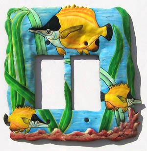 Hand Painted Tropical Fish Rocker Switch Plate - Double - 7