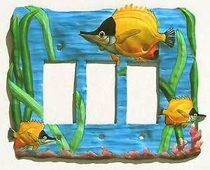 Decorative Metal Tropical Fish Switchplate - Rocker Style - 8 3/4