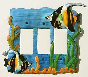 "Moorish Idol Triple Rocker Switch Plate Cover - 8"" x 7"""