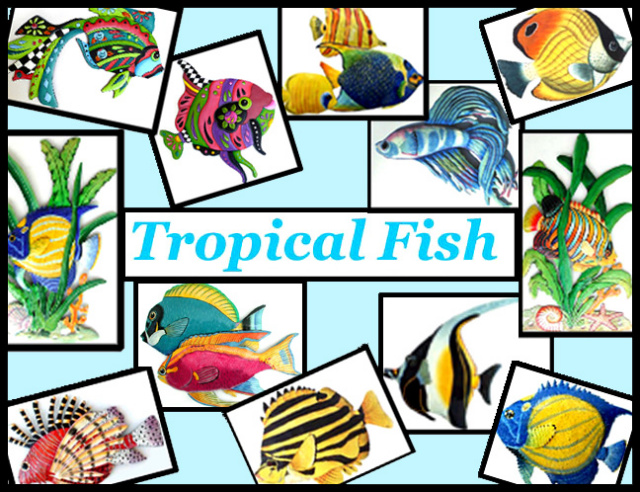 Painted metal tropical fish - Haitian steel drum metal art
