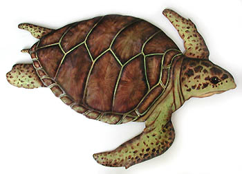 Loggerhead Turtle Wall Hanging - Hand Painted Metal Design -Handcrafted in Haiti from recycled steel drums and carefully hand painted.