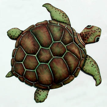 Turtle Wall Decor in Hand Painted Metal - Stained Glass Turtle