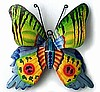 Hand Painted Metal Butterfly Wall Hanging - Metal Butterflies - Tropical Decor -14""