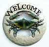 Hand Painted Metal Round Blue Crab Welcome Sign, Beach Decor, Nautical Decor - 14""