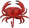 "Painted Metal Red Crab Wall Hook - Pool Decor, Handcrafted Nautical Decor 6"" x 6"""