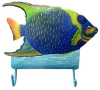 Painted Metal Tropical Fish Wall Hook - Blue Angelfish - Beach Decor