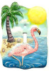 "Flamingo - Painted Metal Switchplate Cover - Tropical Light Switch Cover - 5"" x 7"""