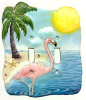 Hand Painted Metal Flamingo Light Switch Cover - Switchplate Cover