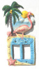 "Pink Flamingo, Light Switchplate, Painted Metal Double Rocker Switch Plate Cover - 7"" x 12"""