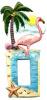 Hand Painted Metal  Pink Flamingo Rocker Switch Plate Cover - Single