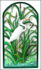 "White Egret Metal Art Wall Hanging. Hand Painted . Framed in Wrought Iron - 21"" x 38"","