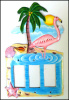 Painted Metal Flamingo Switch Plate Cover - Rocker Style Light Switch Cover - Switchplate Covers