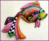 Tropical Fish  Wall Hanging, Painted Metal Art, Haitian Metal Art, Poolside Decor - 24""