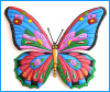 "Painted metal butterfly wall hanging - Colorful garden decor - 24""."
