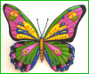 "Metal Art Butterfly- Painted Metal Wall Hanging,- Garden Wall Art,-  29"" x 36"","
