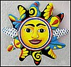 Sun Design, Haitian Art, Hand Painted Metal Wall Hanging, Tropical Home Decor -17""