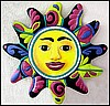 "Sun Design Wall Hanging  -Handcrafted Garden Art - Hand Painted Metal - 24"" x 24"""