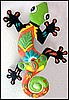 "Gecko Metal Art Caribbean Wall Hanging- Large Painted Metal Haitian Garden Art - 23""x34"""