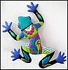 "Painted Metal Blue - Green Frog Garden Wall Hanging - 18"" x 24"""