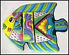 "Tropical Fish Painted Metal Wall Hanging - Handcrafted Haitian Steel Drum Art - 19"" x 24"""