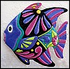 "Tropical Fish Hand Painted Metal Wall Hanging - Island Decor - Metal Art - 17"" x 17"""