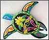 "Turtle Wall Hanging, Tropical Design, Hand Painted Metal Art - 16"" x 21"""
