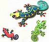 Gecko Wall Art Combo - 3 Hand Painted Metal Art Geckos - Tropical Garden Art