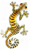 Painted Metal Gecko Garden Wall Decor - Tiger Design Gecko Wall Hanging