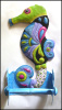 "Painted Metal Seahorse Toilet Tissue Holders, Coastal Decor, Bathroom Decor - 7"" x 14"""