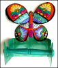 "Painted Metal Butterfly Toilet Paper Holder - Bathroom Decor - Toilet Tissue Holder = 9"" x 8"""