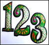 "Metal Address Numbers - Hand Painted Metal Numbers - House Numbers - Green - 4 1/2"" high"