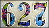 "Handcrafted Metal House Numbers - Painted Metal Address Numbers - 7 1/2""  High - Recycled Steel Oil Drum"