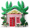 "Caribbean Style Cottage Wall Hanging - Hand Painted Haitian Metal Art - 11"" x 10"""