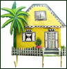 "Painted Metal Caribbean House Wall Hook - Tropical Home Decor - 11"" x 11"""