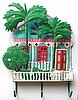 "Tropical House & Palm Trees Hook - Hand Painted Metal Haitian Steel Drum Art - 13"" x 17"""