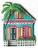 "Caribbean House Wall Hanging - Hand Painted Haitian Metal Art - Tropical Design - 12"" x 14"""