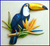 "Painted Metal Toucan Wall Hanging - Tropical Parrot Wall Art - 22"" x 26"""