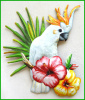 "Parrot Wall Hanging - Hand Painted Metal Cockatoo - Tropical Decor - 24"" x 21"""