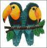 "Painted Metal Tropical Toucan Parrot Wall Hanging - Tropical Design - 13"" x 18"""