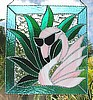 "Flamingo Stained Glass Art Sun Catcher Panel - Tropical Decoration - 12"" x 14"""