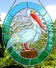 "Pelican Sun Catcher - Tropical Stained Glass Design - Glass Suncatcher - 10"" x 12"""