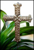 "Cross Plant Stick Garden Decor - Handcrafted Metal Plant Marker -Garden Stake - 8"" x 12"""