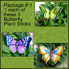 Painted Metal Butterfly Plant Sticks - Pkg. of 3, Outdoor Garden Decor - Pkg #1