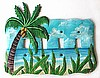 Metal Switch Plate Cover - Hand Painted Coconut Palm Tree - Tropical Design