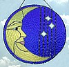Handcrafted Sun Catcher - Moon & Sky Stained Glass Suncatcher Design - 10""