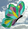"Butterfly Sun Catcher - Stained Glass Suncatcher Butterfly Design - 7"" x 12"""