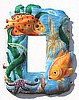 Painted Metal Tropical Fish Electrical Switchplate - Light Switch Cover