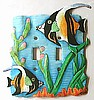 Switchplate Cover, Painted Metal Moorish Idol Tropical Fish, Light Switch