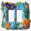 Painted Metal Tropical Fish Double Rocker Switchplate - Light Switch Cover