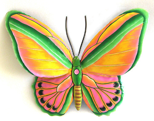 "Painted Metal Butterfly Wall Decor in Gold, Pink & Green - 12"" x 15"""